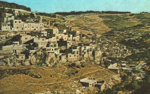 오늘날의 예루살렘 성벽에서 옛 성과 기드론 골짜기를 남쪽으로 내려다본 장면.